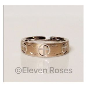 Other - Sterling Silver & 14k Gold Etched Band Ring